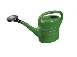 10 Litre Sturdy Eco Friendly Large Green Plastic Watering Can with Rose FREE P&P